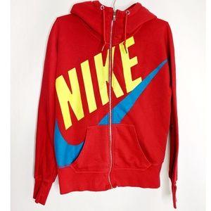 Nike Red Zip Up Hooded Sweatshirt Size Medium